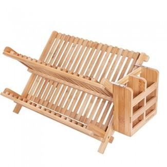 Estante para platos HBlife, HBlife Bamboo Plegable Secado de platos plegable de 2 niveles Juego de sostenedor de cubiertos con utensilios (1, estante para platos con sostenedor de utensilios)
