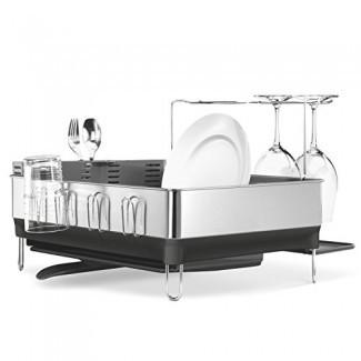 simplehuman Kitchen Steel Frame Rack con caño giratorio, huella digital- Marco de acero inoxidable a prueba, plástico gris