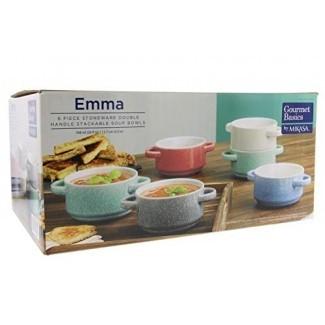 Gourmet Basics Emma by Mikasa - Cuencos apilables de doble asa con acabado duradero de gres y glaseado moteado - Apto para microondas y lavavajillas - Ideal para sopas, chile, guisos, platos laterales, 26 oz, juego de 6