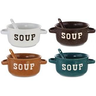 KOVOT Juego de 4 tazones de sopa de cerámica moteados con cucharas - 22 onzas cada uno