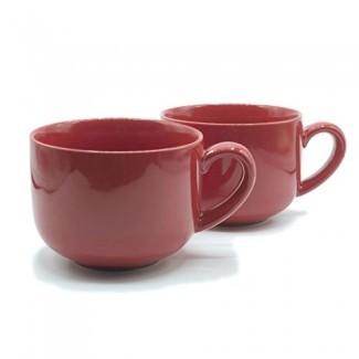 24 onzas de taza de café con leche extra grande o tazón de sopa con mango - rojo (juego de 2)