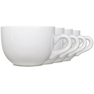 Tazas Jumbo de cerámica de 22oz con paredes gruesas, mango y boca ancha, juego de 4 de Serami