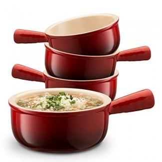 Cuencos de sopa de cebolla francesa de cerámica con asas KooK, 12 onzas - Juego de 4