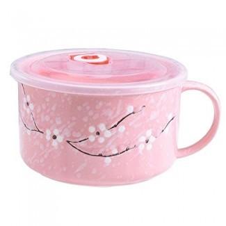 Tazones de sopa asiáticos con tapa y asas, fideos de cerámica de estilo japonés para microondas / Tazones de sopa Tapa con asas (rosa)
