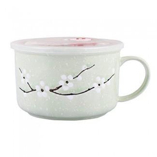Tazón de fideos de sopa asiática con mango, tazones de sopa / fideos de cerámica de microondas estilo japonés con tapa y asas (cian)