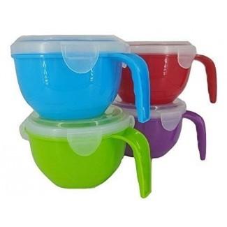 Juego de tazón de sopa con asa y tapa ventilada con cierre a presión (paquete de 4)