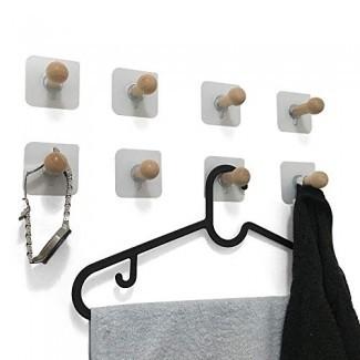 VTurboWay 8 paquete de ganchos adhesivos para pared, sin taladros Ganchos para sombrero de madera, almacenamiento Gancho para colgar en la pared para guardar el abrigo, armario Armario Toalla Gancho para bata con llave