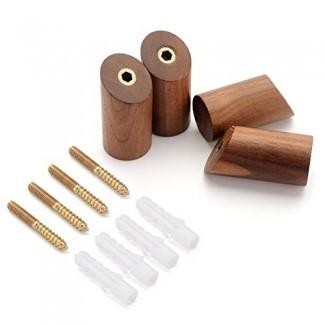 Paquete de 4, Percheros de madera natural, Perchero de pared simple para colgar en la pared, Perchero para ropa Perchero Toalla Home Vintage Handmade Craft (Nogal negro, 2.4 pulgadas)