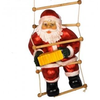 Decoración de Navidad de Papá Noel jugando en la escalera