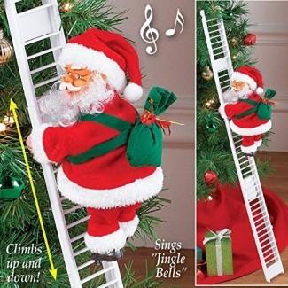 Howardee 1 Pcs Escalera Eléctrica Escalera Papá Noel Navidad Estatuilla Adorno Decoración Regalos