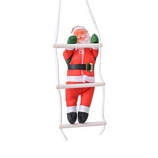 YQich 10 '' Christmas Santa Claus Climbing On Rope Ladder Xmas Trees Hanging Ornament