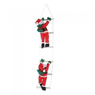 Zerodis 2Pcs Escalada en cuerda Escalera Santa Claus Juguete Árbol de Navidad Interior Al aire libre Colgante Adorno Decoración Navidad Fiesta Puerta Decoración de la pared
