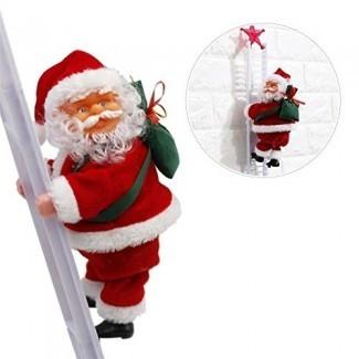 Sundlight Electric Santa Claus Subiendo Escalera Muñeca Decoración Peluche Muñeca Juguete para Navidad Fiesta Inicio Puerta Decoración de pared