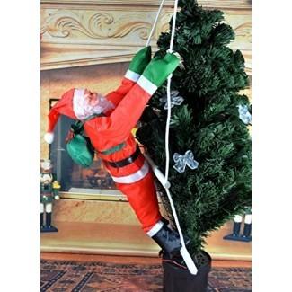 Hivchinge Christmas Climbing Santa Claus Climbing on Ladder Stepping Santa Hanging Indoor Outdoor Christmas Tree Hanging Santa Claus Decoration Christmas Ornament Home Party
