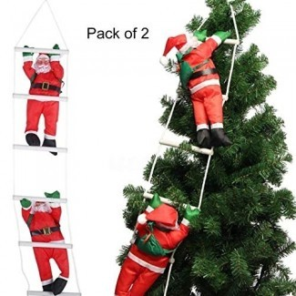 Yosoo Two Santa Claus Subiendo en la escalera de cuerda para el árbol de Navidad Interior al aire libre Colgante Adorno Decoración Navidad Navidad Fiesta Inicio Puerta Decoración de la pared (2 Paquete)