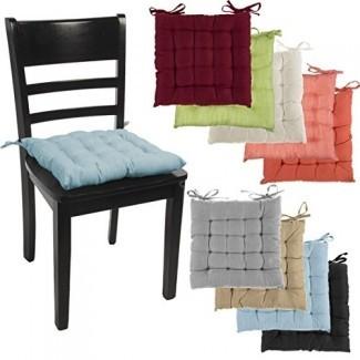 DreamHome (juego de 4) Almohadillas para silla de interior Cojines de asiento con cojín cuadrado de 14 pulgadas Cojines con lazos