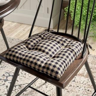 Cojín de silla de comedor a cuadros