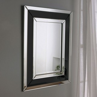 Espejo Art Deco de vidrio negro 91x71cm | Espejos exclusivos