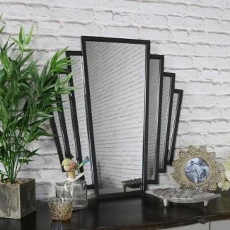 Espejo de pared estilo fan Art Déco negro | Flora Furniture