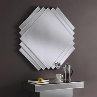 Espejo Art Deco clásico de corte cuadrado 84 x 84 cm
