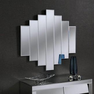 Espejo inspirado en Art Deco moderno en plata 89 x 89