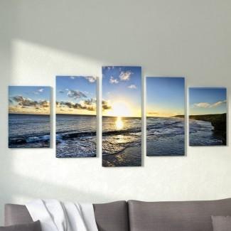Conjunto de impresión fotográfica de 5 piezas 'Day Break' sobre lienzo