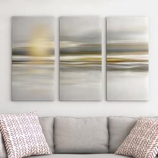 Imagen de varias piezas 'Soft Sea' en lienzo envuelto