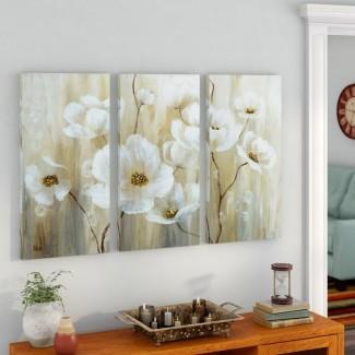 Imagen de varias piezas de 'Shimmering Blossoms' en lienzo envuelto