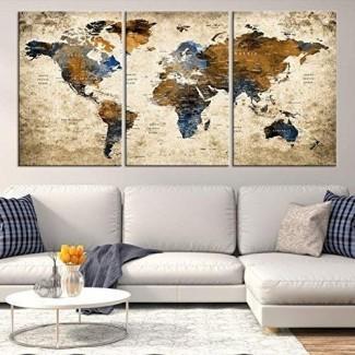 Sephia World Map Wall Art de My Great Canvas   Impresión de lienzo colgante de panel múltiple X-Large de 3 piezas para decoración del hogar   Siga sus viajes con este colorido mapa antiguo   Enmarcado y listo para colgar,