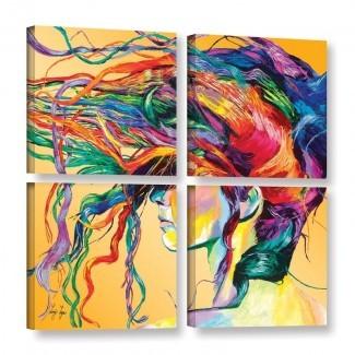 Imagen de varias piezas 'Windswept' en lienzo envuelto
