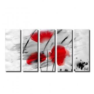 Arte gráfico de 5 piezas 'Painted Petals III' sobre lienzo gris / rojo / negro