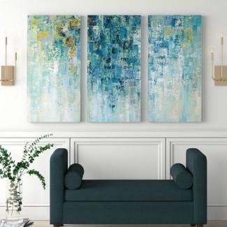 """Imagen de varias piezas de impresión de pintura acrílica """"Amo la lluvia"""" en lienzo envuelto en galería"""