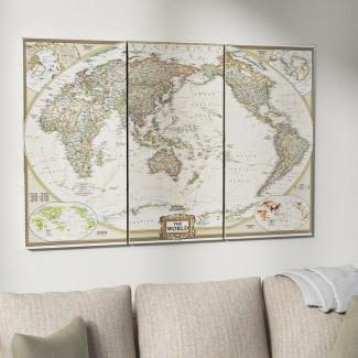 Imagen gráfica de varias piezas sobre el lienzo envuelto 'National Geographic World Map'