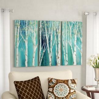 ' Birch on Blue 'Imagen de varias piezas en lienzo envuelto