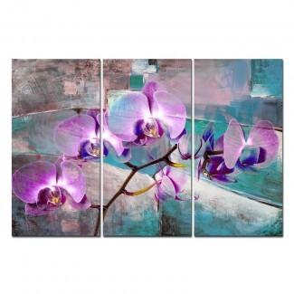 Conjunto de impresión gráfica de 3 piezas 'Petals XIX' pintada en lienzo envuelto