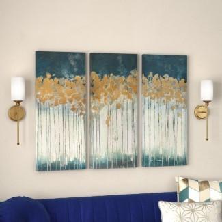 'Midnight Forest' Gel Coat Arte de pared de lona con adorno de lámina de oro Juego de 3 piezas