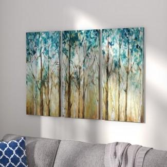 Imagen de varias piezas en lienzo 'Sunlit Birch Grove'