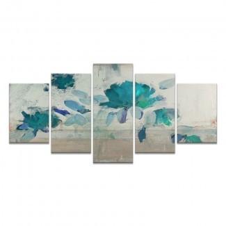 Impresión de arte gráfico 'Painted Petals IV-B' sobre lienzo en beige / azul / gris / verde azulado