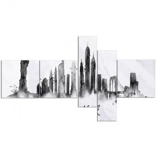 ' Silhouette Ink New York 'Imprimir Imagen de varias piezas en lienzo