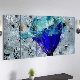 Imagen de varias piezas en lienzo de arte gráfico 'Pétalos pintados LX'