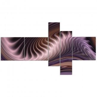 Impresión de arte gráfico 'Purple Waves Fractal Wall Art' Imagen de varias piezas en lienzo