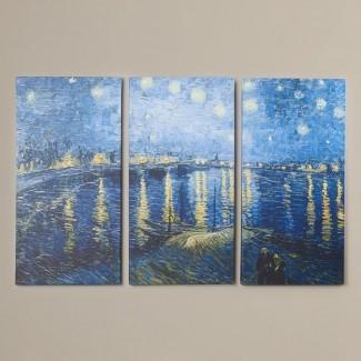 'Starry Night over the Rhone' de Vincent van Gogh Imprimir imagen de varias piezas en lienzo envuelto