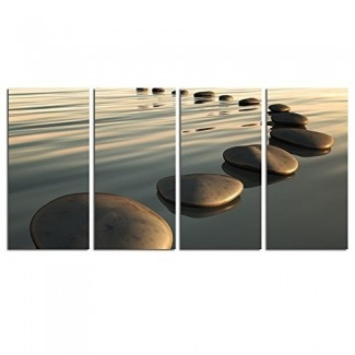 """Decoración de arte en vivo - Zen Canvas Wall Art, Basalt Stone on The Sunset Relax Scenery Canvas Pictures for Living Room Decoration, Peaceful Water Multi Panel Wall Art Easy Hanging On - 48 """"W x 24"""" H Overall"""