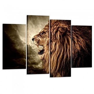 Artes creativas - Arte de pared de 4 paneles Pintura de león Impresión en lienzo Imágenes de animales para decoración del hogar Decoración Pieza de regalo estirada por marco de madera Listo para colgar