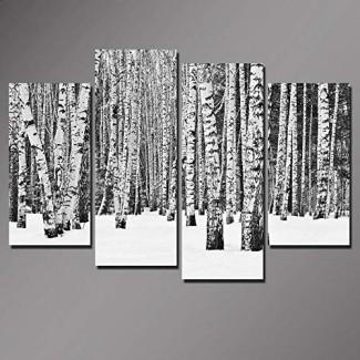 Sea Charm- Arte de pared de árbol de abedul de 4 paneles, cuadros de bosque en blanco y negro Impresión en lienzo, decoración de la pared interior del hogar y la oficina Obra en lienzo, póster de paisaje invernal listo para colgar