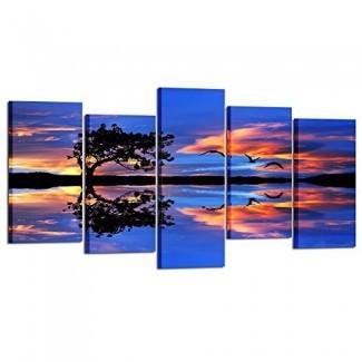 Kreative Arts Impresiones de lienzo de panel grande de 5 paneles Árbol solitario enmarcado Arte de pared Cielo del atardecer Nubes Color en The Lake Purple Decoraciones de paisajes Living Room
