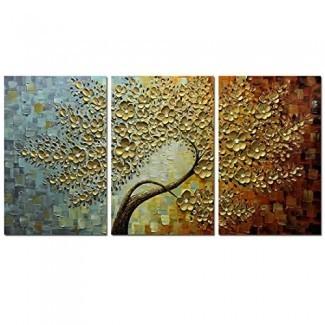 Pinturas V-Inspire, 24x36Inchx3 Pinturas Pintura al óleo 3D Mano- Pintado sobre lienzo Obra de arte abstracto Arte Interior de madera Enmarcado Colgante Decoración de la pared Pintura abstracta