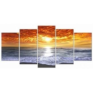 Wieco Art Grand Sight 5 paneles HD Impresión en lienzo Estirado y enmarcado Arte moderno de la pared para la decoración del hogar y la oficina Giclee Picture Photon Print en lienzo P5RLA028