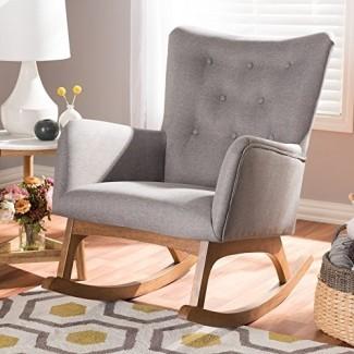"Baxton Studio Waldmann Mid-Century Modern Grey Fabric - Silla mecedora tapizada / Mid-Century / Gray / Medium Wood / Fabric Polyester 100% ""/ Rubber Wood / Foam"