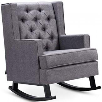 Silla mecedora tapizada con respaldo acolchado Giantex con marco de madera y cojín suave, estilo moderno retro de mediados de siglo para sala de estar, silla de ocio